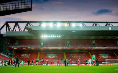 Liverpool players walk out before the FA Premier League match between Liverpool FC and Everton FC, the 238th Merseyside Derby, at Anfield