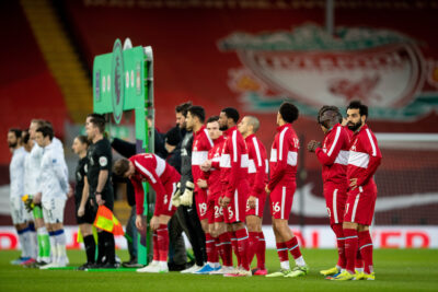 Liverpool's Mohamed Salah and team-mates line-up before the FA Premier League match between Liverpool FC and Everton FC, the 238th Merseyside Derby, at Anfield