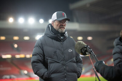 Liverpool's manager Jürgen Klopp gives an interview to radio station Talk Sport after the FA Premier League match between Liverpool FC and Everton FC, the 238th Merseyside Derby, at Anfield