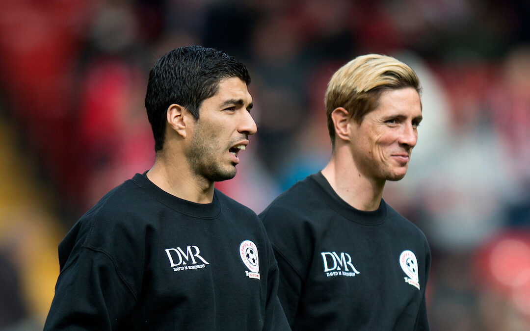 Luis Suarez and Fernando Torres warm up prior to the Liverpool All Star Charity match at Anfield
