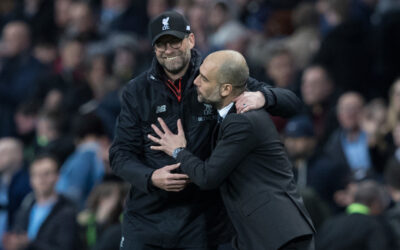 Liverpool's manager Jürgen Klopp and Manchester City's manager Pep Guardiola after the FA Premier League match at the Etihad Stadium