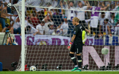 Liverpool's goalkeeper Loris Karius looks dejected after gifting Real Madrid the opening goal during the UEFA Champions League Final match between Real Madrid CF and Liverpool FC at the NSC Olimpiyskiy