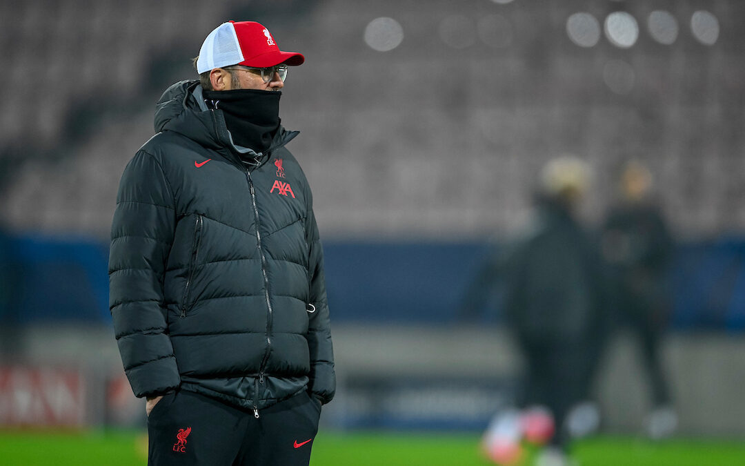 Liverpool's manager Jürgen Klopp during the pre-match warm-up before the UEFA Champions League Group D match between FC Midtjylland and Liverpool FC at the Herning Arena