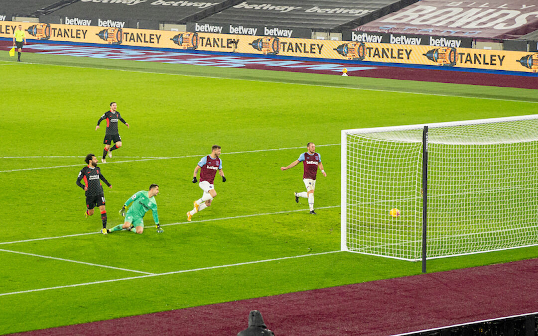 Liverpool's Mohamed Salah scores the second goal during the FA Premier League match between West Ham United FC and Liverpool FC at the London Stadium