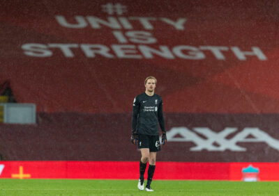 Liverpool's goalkeeper Caoimhin Kelleher at the final whistle during the FA Premier League match between Liverpool FC and Brighton & Hove Albion FC at Anfield