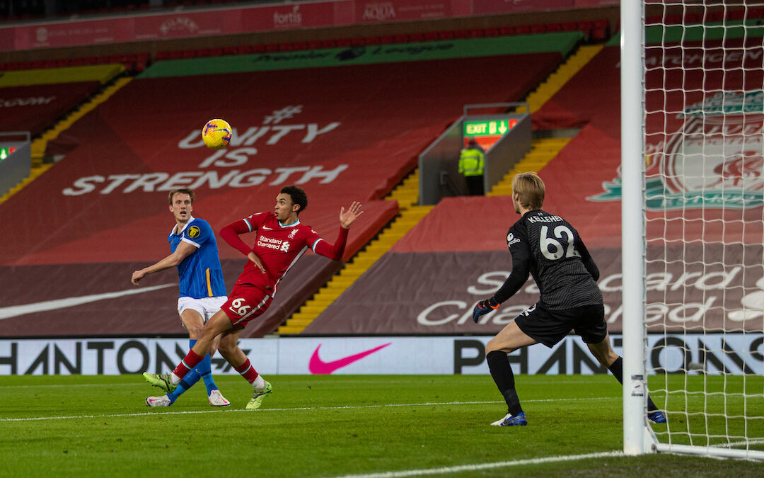 Brighton & Hove Albion's Dan Burn shoots over the bar during the FA Premier League match between Liverpool FC and Brighton & Hove Albion FC at Anfield
