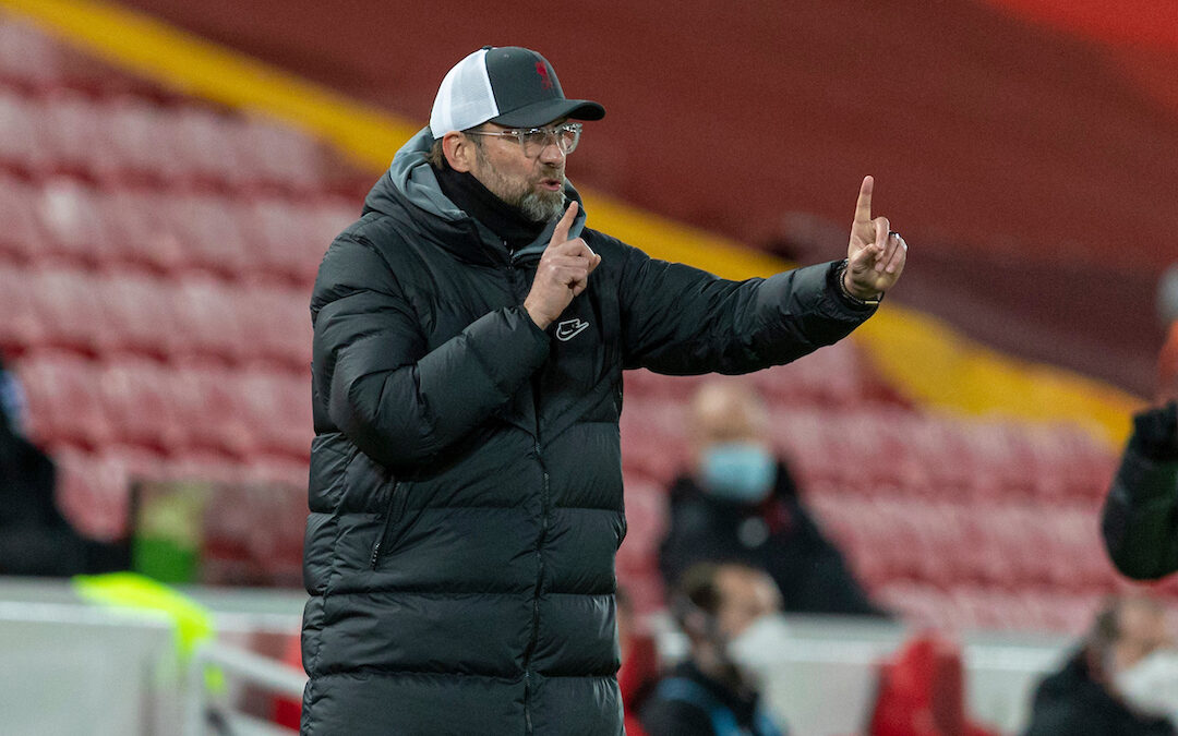 Liverpool's manager Jürgen Klopp during the FA Premier League match between Liverpool FC and Brighton & Hove Albion FC at Anfield