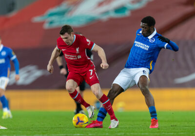 Liverpool's James Milner (L) and Brighton & Hove Albion's Yves Bissouma during the FA Premier League match between Liverpool FC and Brighton & Hove Albion FC at Anfield
