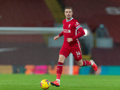 Liverpool's captain Jordan Henderson during the FA Premier League match between Liverpool FC and Brighton & Hove Albion FC at Anfield