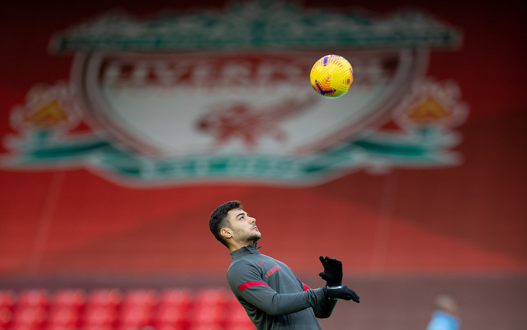 Liverpool's Ozan Kabak during the pre-match warm-up before the FA Premier League match between Liverpool FC and Manchester City FC at Anfield
