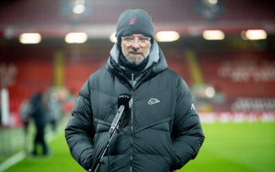 Liverpool's manager Jürgen Klopp is interviewed after the FA Premier League match between Liverpool FC and Manchester City FC at Anfield