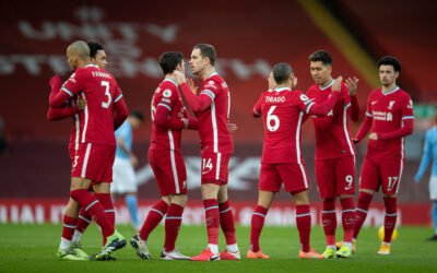 Liverpool's captain Jordan Henderson and team-mates before the FA Premier League match between Liverpool FC and Manchester City FC at Anfield
