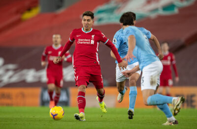Liverpool's Roberto Firmino during the FA Premier League match between Liverpool FC and Manchester City FC at Anfield