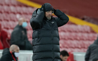 Liverpool's manager Jürgen Klopp reacts during the FA Premier League match between Liverpool FC and Manchester City FC at Anfield