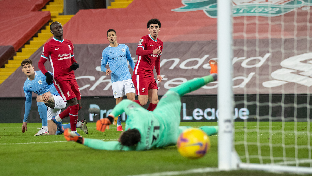 Liverpool's Curtis Jones sees his shot go wide during the FA Premier League match between Liverpool FC and Manchester City FC at Anfield