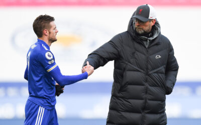 Liverpool's manager Jürgen Klopp and Leicester City's Jamie Vardy after the FA Premier League match between Leicester City FC and Liverpool FC at the King Power Stadium. Leicester City won 3-1.