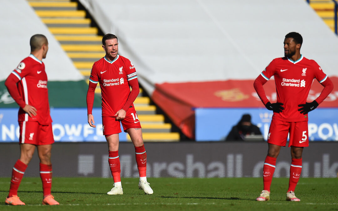 Liverpool's captain Jordan Henderson looks dejected after Leicester City score the third goal during the FA Premier League match between Leicester City FC and Liverpool FC at the King Power Stadium. Leicester City won 3-1.