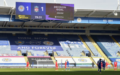 VAR upholds Leicester City's opening goal during the FA Premier League match between Leicester City FC and Liverpool FC at the King Power Stadium. Leicester City won 3-1.