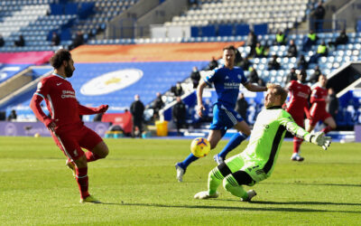 Liverpool's Mohamed Salah sees his shot saved by Leicester City's goalkeeper Kasper Schmeichel during the FA Premier League match between Leicester City FC and Liverpool FC at the King Power Stadium