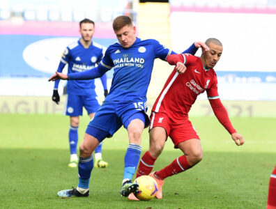Liverpool's Thiago Alcantara (R) and Leicester City's Harvey Barnes during the FA Premier League match between Leicester City FC and Liverpool FC at the King Power Stadium
