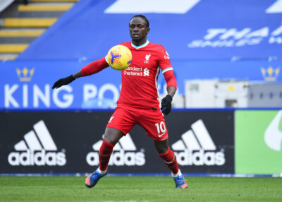 Liverpool's Sadio Mané during the FA Premier League match between Leicester City FC and Liverpool FC at the King Power Stadium