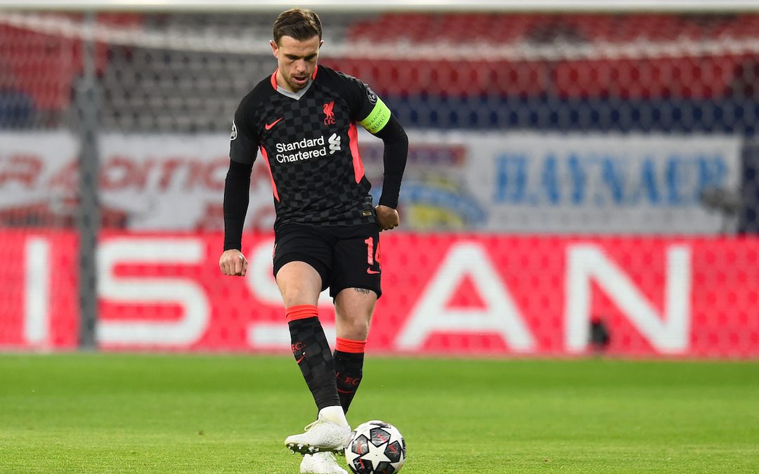 Liverpool's captain Jordan Henderson during the UEFA Champions League Round of 16 1st Leg game between RB Leipzig and Liverpool FC at the Puskás Aréna