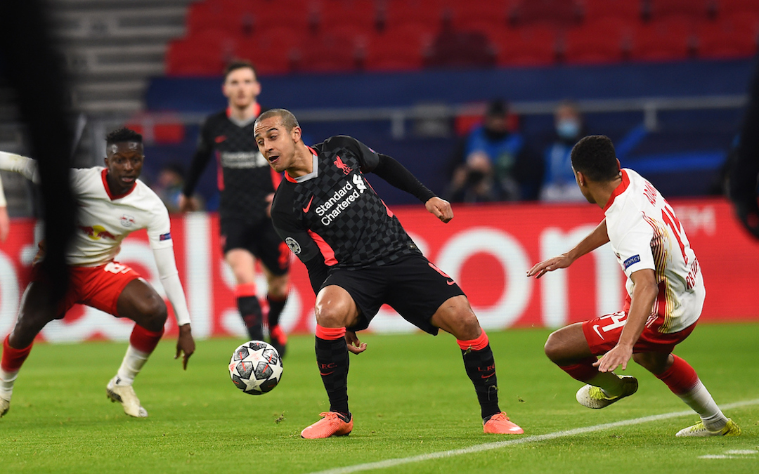 Liverpool's Thiago Alcantara during the UEFA Champions League Round of 16 1st Leg game between RB Leipzig and Liverpool FC at the Puskás Aréna
