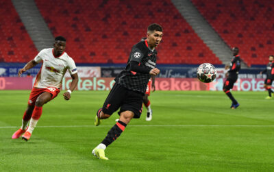 Liverpool's Roberto Firmino during the UEFA Champions League Round of 16 1st Leg game between RB Leipzig and Liverpool FC at the Puskás Aréna