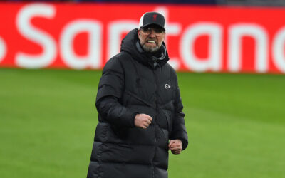 Liverpool's manager Jürgen Klopp reacts during the UEFA Champions League Round of 16 1st Leg game between RB Leipzig and Liverpool FC at the Puskás Aréna