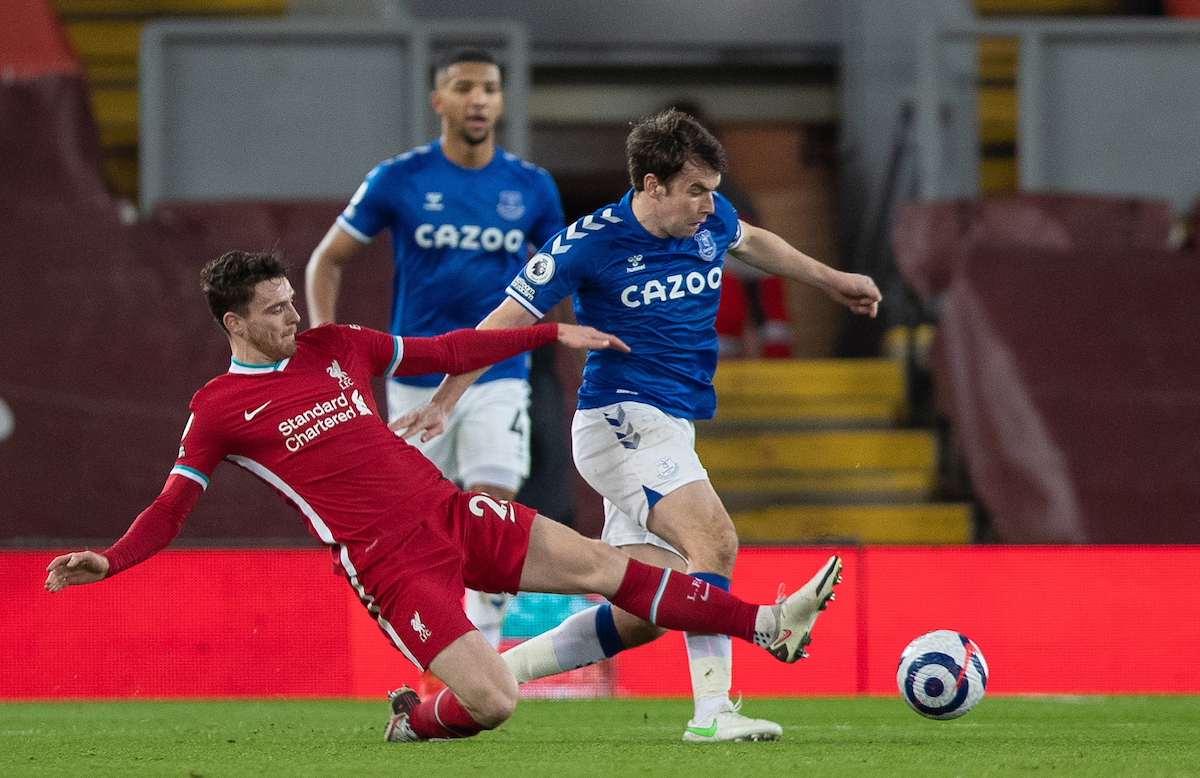 Liverpool's Andy Robertson tackles Everton's captain Seamus Coleman during the FA Premier League match between Liverpool FC and Everton FC, the 238th Merseyside Derby, at Anfield