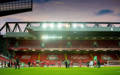 Liverpool's players before the FA Premier League match between Liverpool FC and Everton FC, the 238th Merseyside Derby, at Anfield