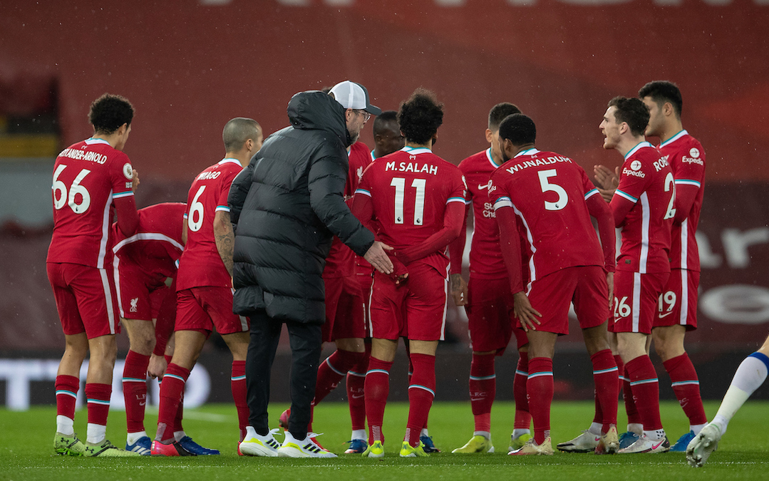 Liverpool's manager Jürgen Klopp speaks to his team at half-time during the FA Premier League match between Liverpool FC and Everton FC, the 238th Merseyside Derby, at Anfield