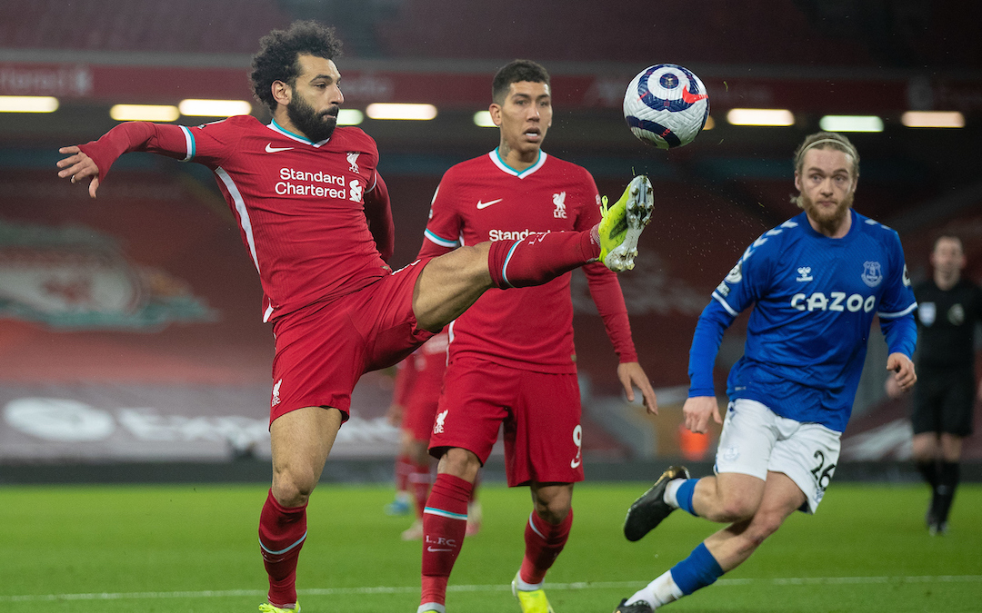 Liverpool's Mohamed Salah during the FA Premier League match between Liverpool FC and Everton FC, the 238th Merseyside Derby, at Anfield