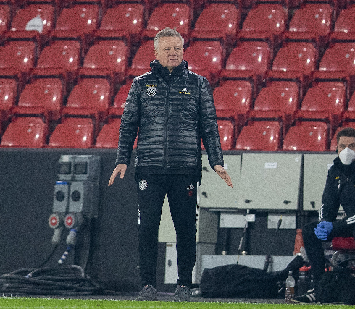 Sheffield United's manager Chris Wilder during the FA Premier League match between Sheffield United FC and Liverpool FC at Bramall Lane