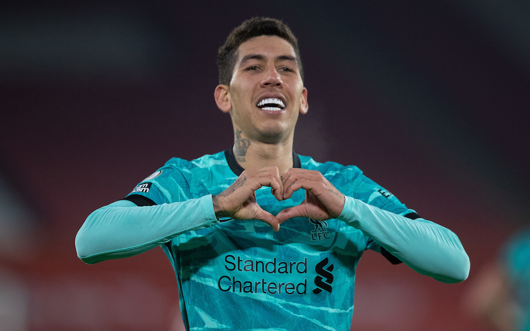 Liverpool's Roberto Firmino celebrates after scoring the second goal during the FA Premier League match between Sheffield United FC and Liverpool FC at Bramall Lane