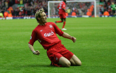 Liverpool's Sami Hyypia celebrates scoring the opening goal against Juventus during the UEFA Champions League Quarter Final 1st Leg match at Anfield