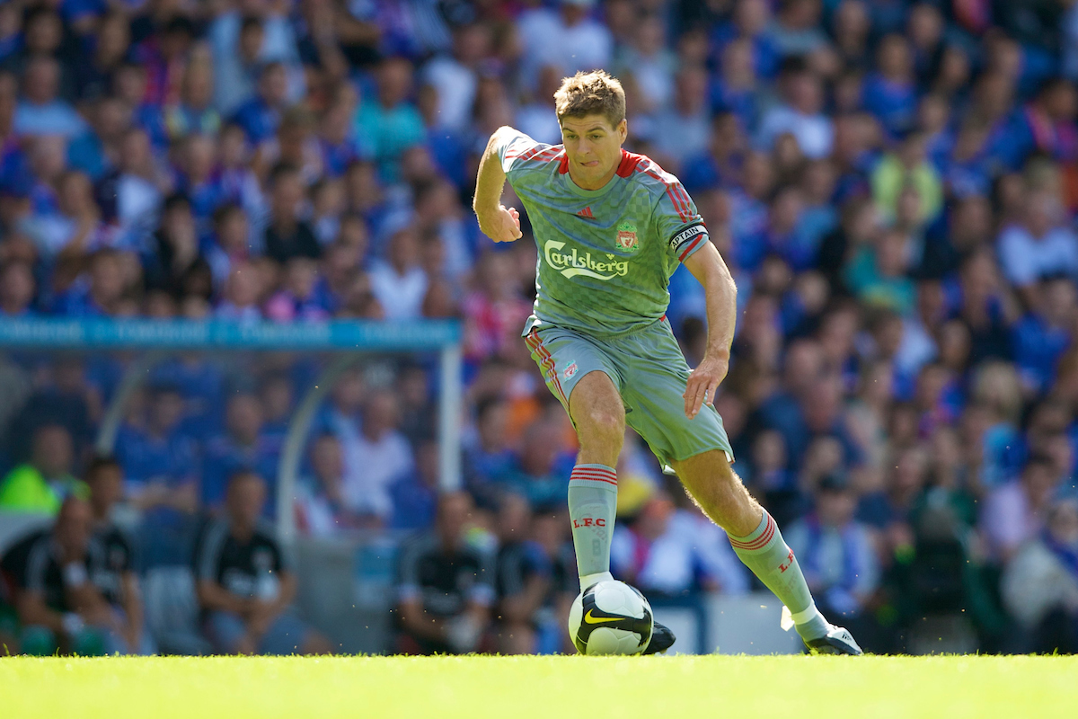 Saturday, August 2, 2008: Liverpool's captain Steven Gerrard MBE in action against Rangers during a pre-season friendly match at Ibrox Stadium.