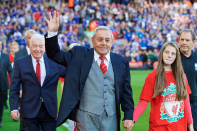 Former Liverpool player Ian St. John before the FA Premier League match against Leicester City at Anfield