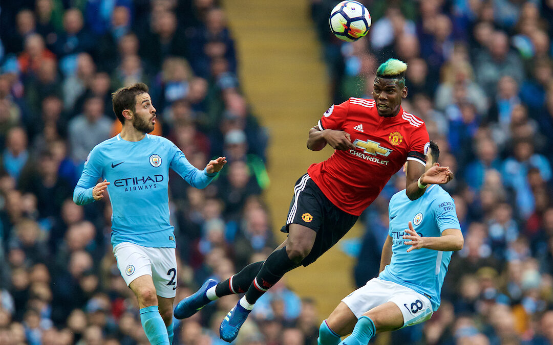 The FA Premier League match between Manchester City FC and Manchester United FC at the Etihad Stadium