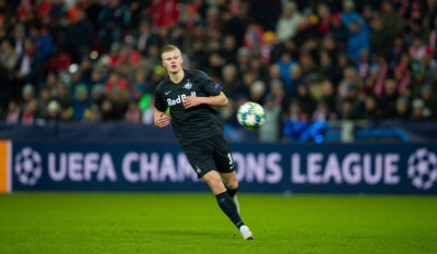 FC Salzburg's Erling Braut Håland during the final UEFA Champions League Group E match between FC Salzburg and Liverpool FC at the Red Bull Arena