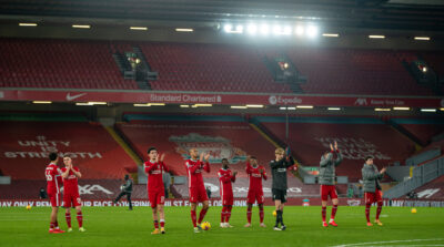 Liverpool players applaud the supporters after the Premier League match against Wolves at Anfield