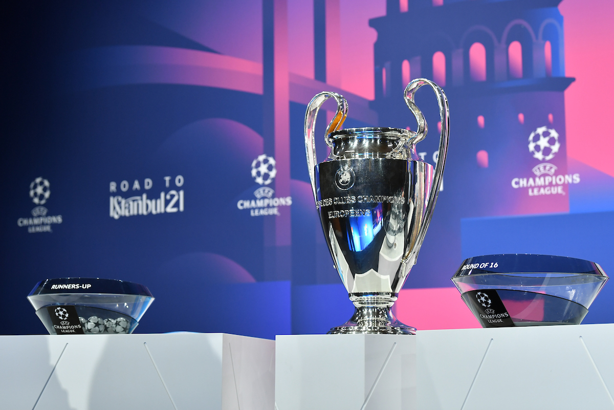 NYON, SWITZERLAND - Monday, December 14, 2020: A general view of the draw table with the European Cup trophy before the UEFA Champions League 2020/21 Round of 16 draw at the UEFA Headquarters, the House of European Football.