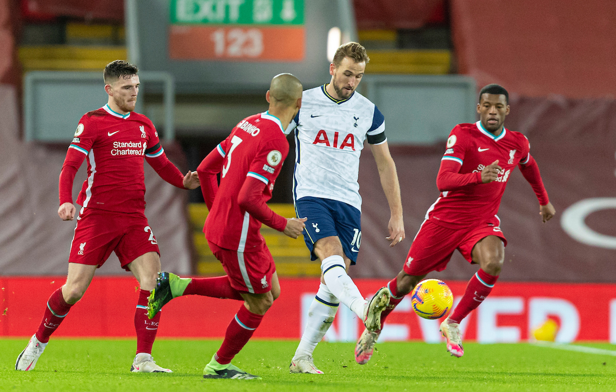 Harry Kane during the FA Premier League match between Liverpool FC and Tottenham