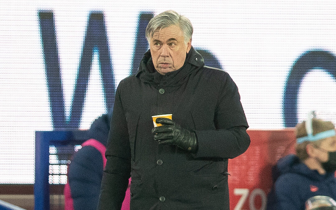 Everton's manager Carlo Ancelotti with a hot drink during the FA Cup 5th Round