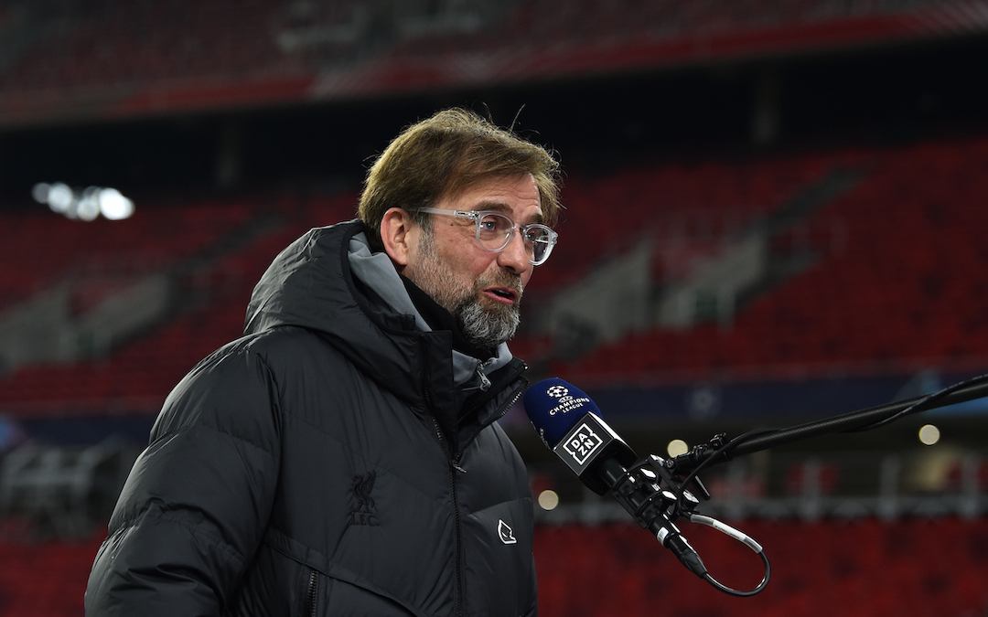 Liverpool's manager Jürgen Klopp gives a television interview before the UEFA Champions League Round of 16 1st Leg game between RB Leipzig and Liverpool FC at the Puskás Aréna