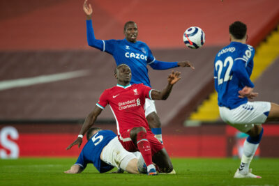 Liverpool's Sadio Mané during the FA Premier League match between Liverpool FC and Everton FC, the 238th Merseyside Derby, at Anfield