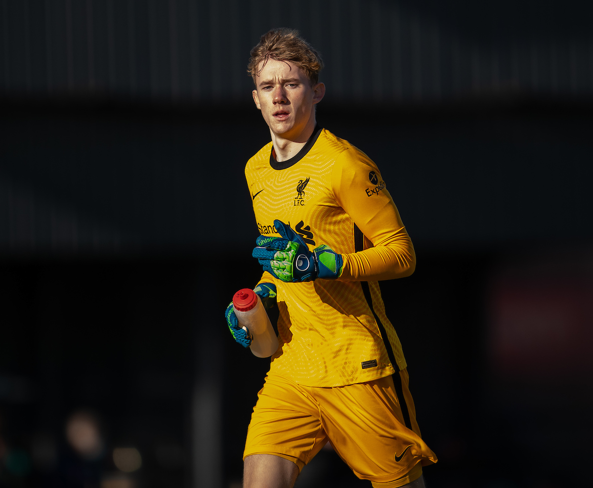 Liverpool's goalkeeper Liam Hughes during the Premier League 2 Division 1 match between Liverpool FC Under-23's and Arsenal FC Under-23's at the Liverpool Academy