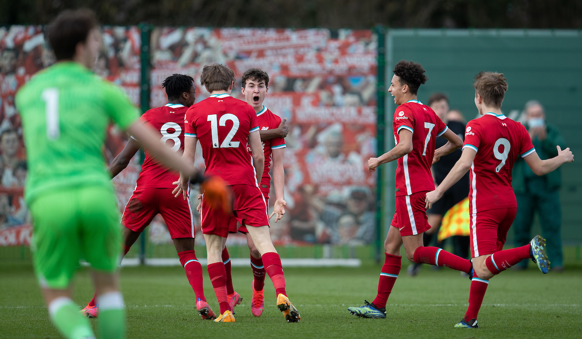Liverpool's Mateusz Musialowski celebrates after scoring the winning second goal during the Under-18 Premier League match between Liverpool FC Under-18's and Everton FC Under-23's at the Liverpool Academy