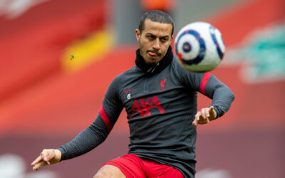 Liverpool's Thiago Alcantara during the pre-match warm-up before the FA Premier League match between Liverpool FC and Fulham FC at Anfield