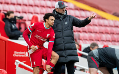 Liverpool's manager Jürgen Klopp prepares to bring on substitute Trent Alexander-Arnold during the FA Premier League match between Liverpool FC and Fulham FC at Anfield